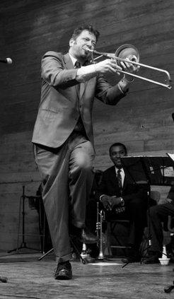 J. Walter Hawkes with trombone